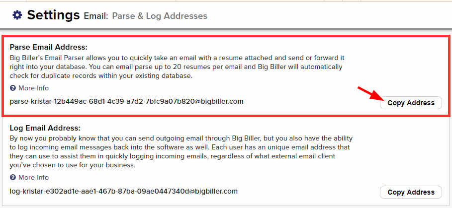 email parse and log addresses settings