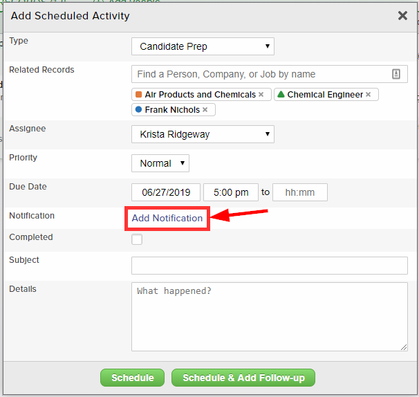 Add a notification in a scheduled activity